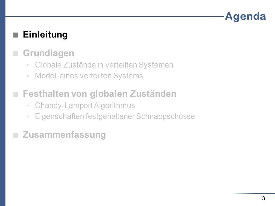 3 Agenda Einleitung Grundlagen Globale Zustände in verteilten Systemen Modell eines verteilten Systems Festhalten von globalen Zuständen Chandy-Lampor