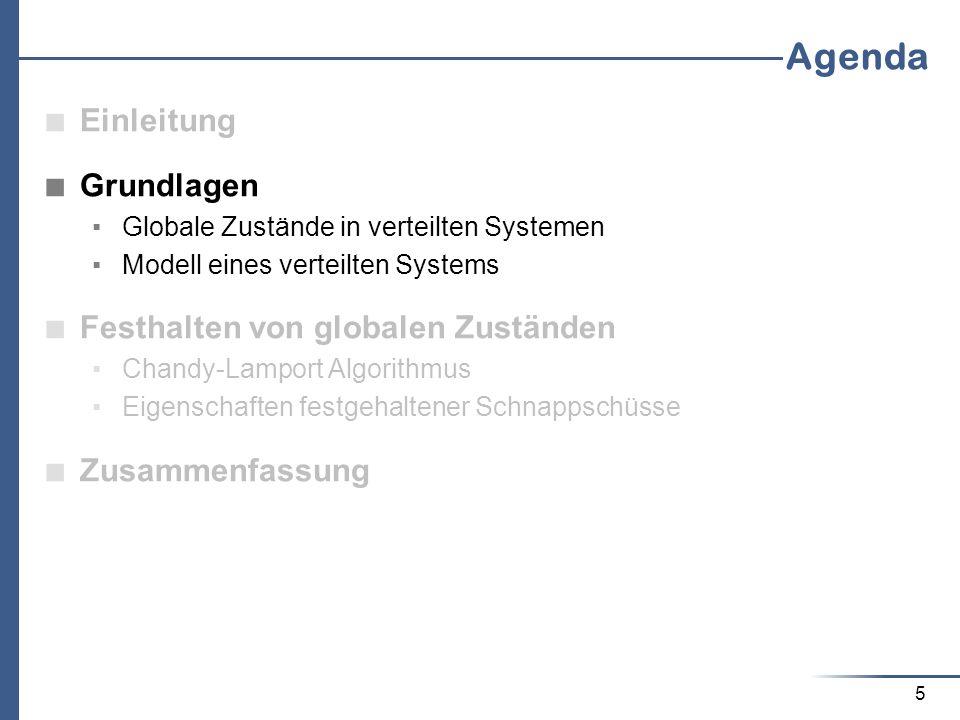 26 Agenda Einleitung Grundlagen Globale Zustände in verteilten Systemen Modell eines verteilten Systems Festhalten von globalen Zuständen Chandy-Lamport Algorithmus Eigenschaften festgehaltener Schnappschüsse Zusammenfassung