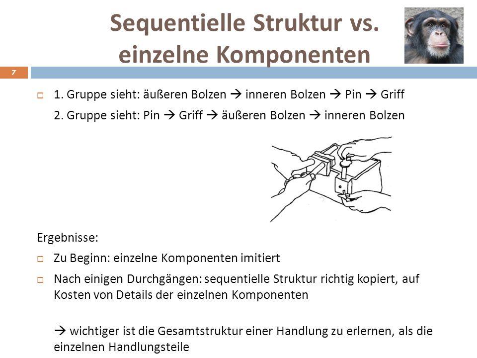 Woran liegt es? Vermutungen Unterschied Griff & Bolzen: Griff-Aufgabe scheint transparenter Bolzen-Aufgabe nicht so transparent, da gegensätzliche Han
