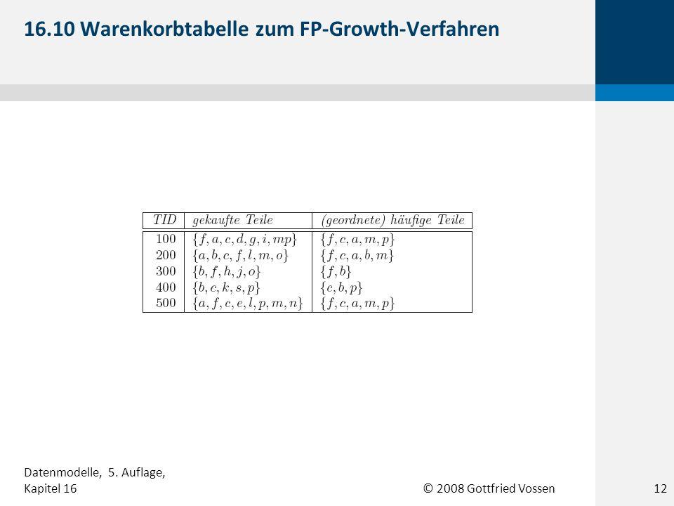 © 2008 Gottfried Vossen 16.10 Warenkorbtabelle zum FP-Growth-Verfahren 12 Datenmodelle, 5. Auflage, Kapitel 16