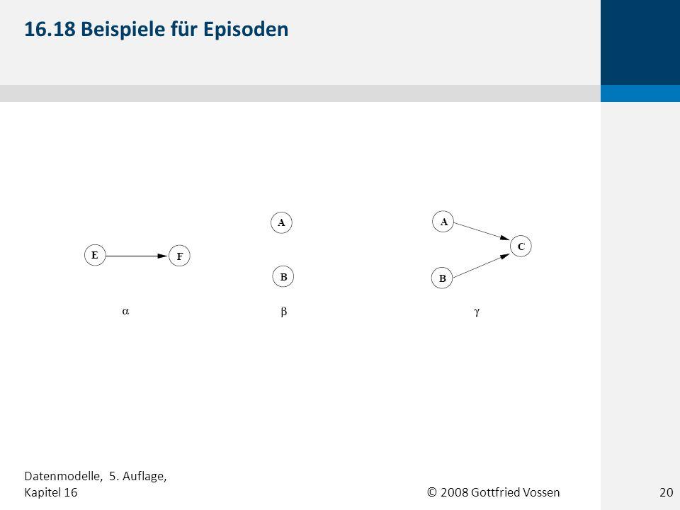 © 2008 Gottfried Vossen 16.18 Beispiele für Episoden 20 Datenmodelle, 5. Auflage, Kapitel 16