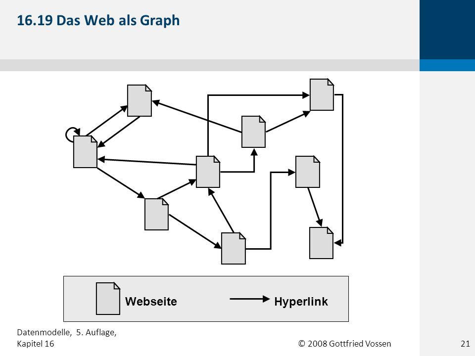 © 2008 Gottfried Vossen WebseiteHyperlink 16.19 Das Web als Graph 21 Datenmodelle, 5. Auflage, Kapitel 16