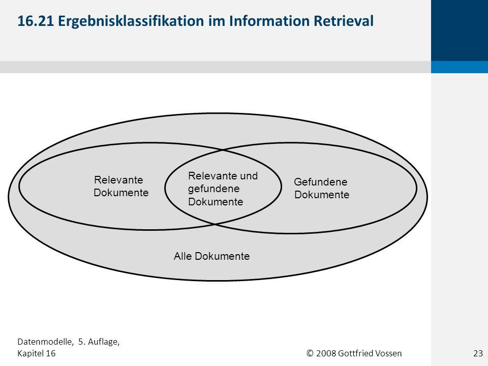© 2008 Gottfried Vossen Gefundene Dokumente Relevante und gefundene Dokumente Relevante Dokumente Alle Dokumente 16.21 Ergebnisklassifikation im Infor