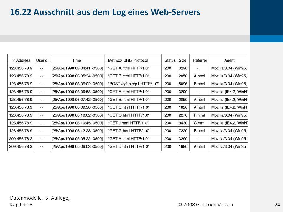 © 2008 Gottfried Vossen 16.22 Ausschnitt aus dem Log eines Web-Servers 24 Datenmodelle, 5. Auflage, Kapitel 16
