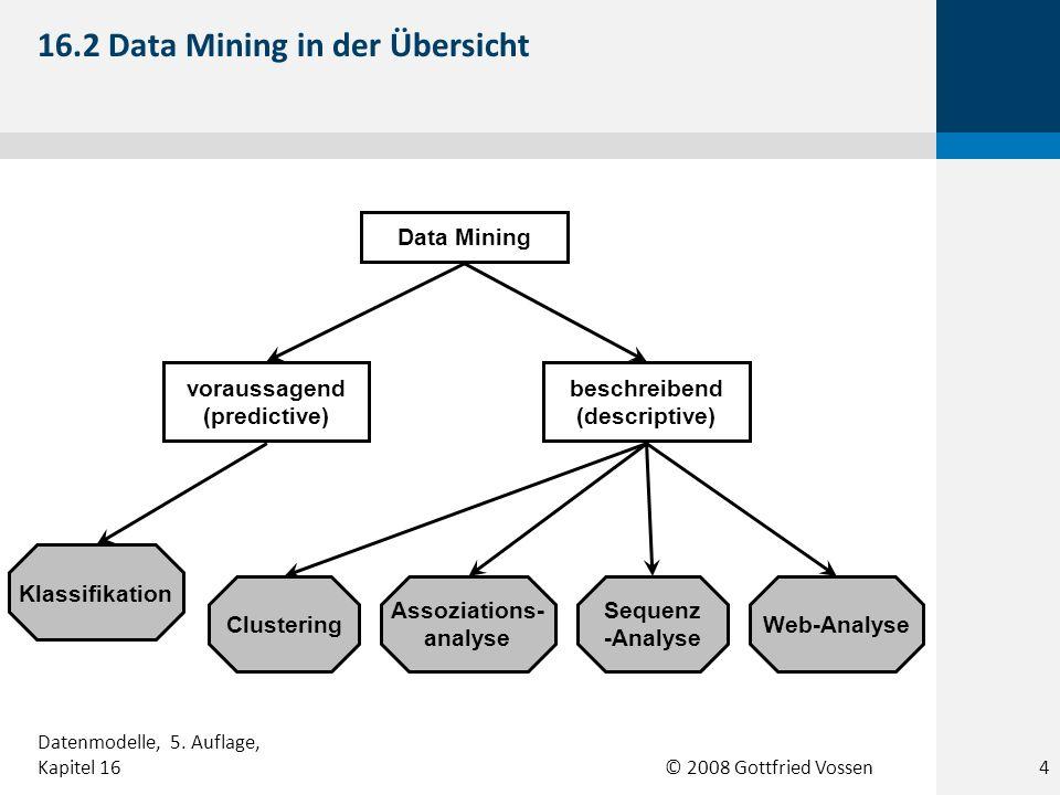 © 2008 Gottfried Vossen Abschluss Einkommen ohneBachelorMaster -30K30-50K50-80K80+K 16.3 Beispiel einer Klassifikation 5 Datenmodelle, 5.