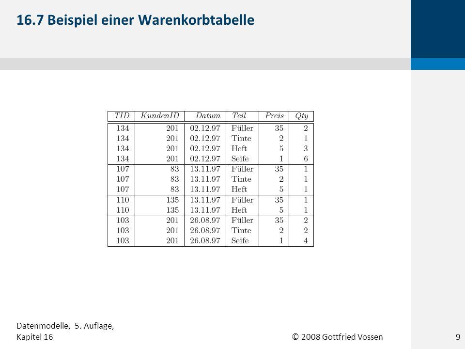© 2008 Gottfried Vossen 16.7 Beispiel einer Warenkorbtabelle 9 Datenmodelle, 5. Auflage, Kapitel 16