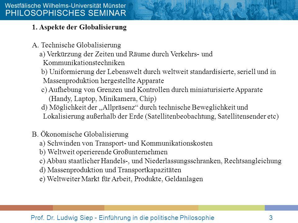 Prof. Dr. Ludwig Siep - Einführung in die politische Philosophie3 1. Aspekte der Globalisierung A. Technische Globalisierung a) Verkürzung der Zeiten