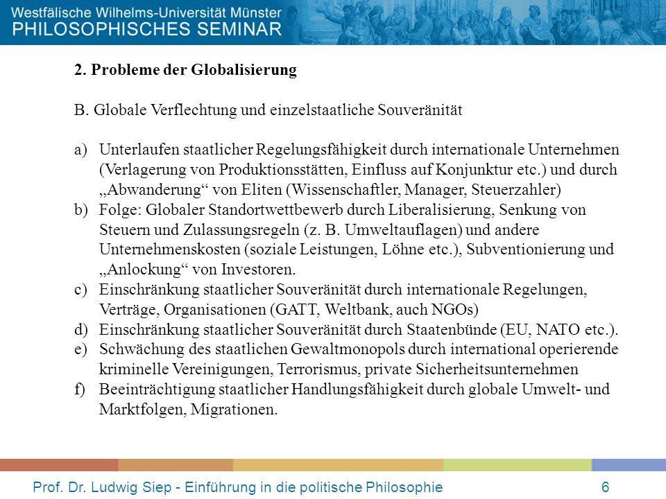 Prof. Dr. Ludwig Siep - Einführung in die politische Philosophie6 2. Probleme der Globalisierung B. Globale Verflechtung und einzelstaatliche Souverän