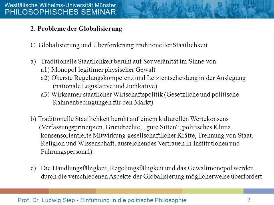Prof. Dr. Ludwig Siep - Einführung in die politische Philosophie7 2. Probleme der Globalisierung C. Globalisierung und Überforderung traditioneller St