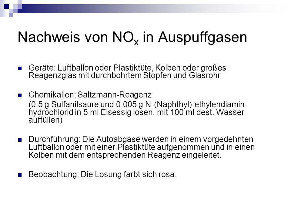 Nachweis von NO x in Auspuffgasen Geräte: Luftballon oder Plastiktüte, Kolben oder großes Reagenzglas mit durchbohrtem Stopfen und Glasrohr Chemikalie