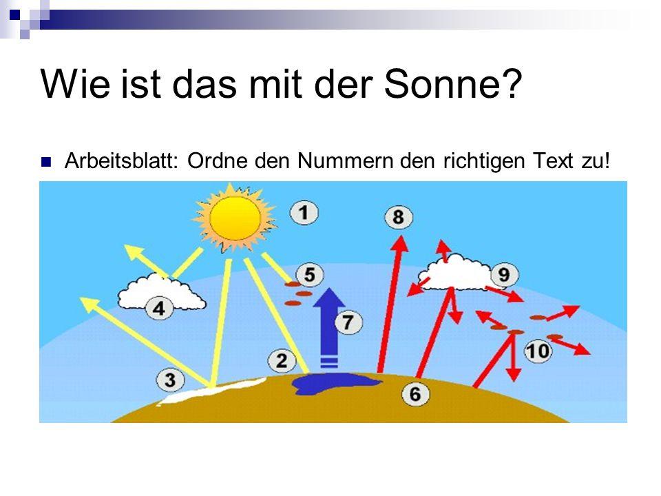 Wie ist das mit der Sonne? Arbeitsblatt: Ordne den Nummern den richtigen Text zu!