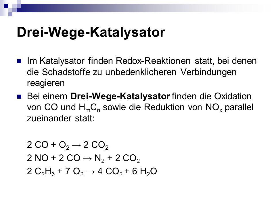 Drei-Wege-Katalysator Im Katalysator finden Redox-Reaktionen statt, bei denen die Schadstoffe zu unbedenklicheren Verbindungen reagieren Bei einem Dre