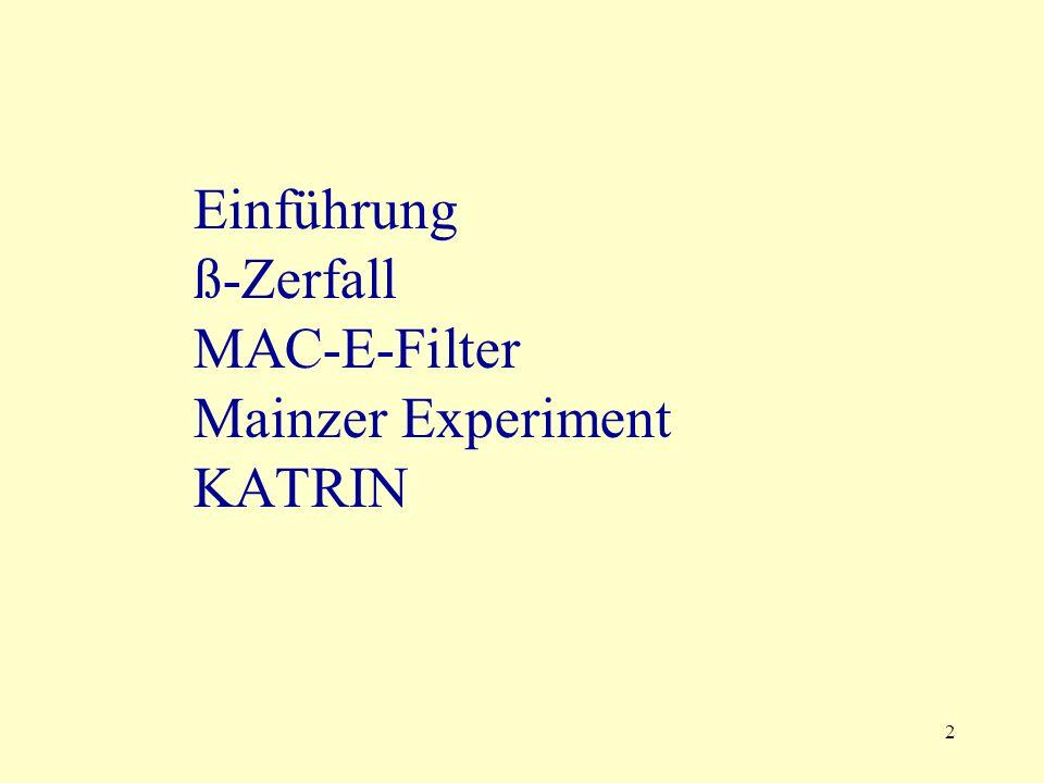 2 Einführung ß-Zerfall MAC-E-Filter Mainzer Experiment KATRIN