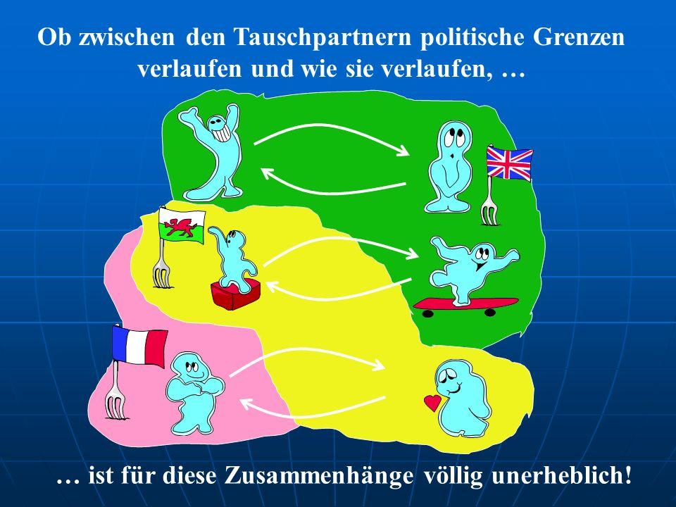 Ob zwischen den Tauschpartnern politische Grenzen verlaufen und wie sie verlaufen, … … ist für diese Zusammenhänge völlig unerheblich!