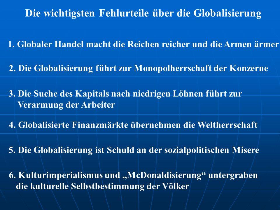 Industrieländer WTO Kontrolle Dominanz Liberalisierung Zwang zusätzlicher Reichtum der Industrieländer Ausweglosigkeit, Defätismus, Widerstand, Terror Verarmung der Entwicklungsländer Motor der Globalisierung Nord-Süd-Konflikt