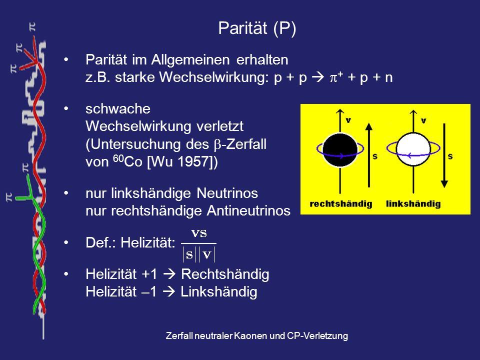 Zerfall neutraler Kaonen und CP-Verletzung Zerfall der neutralen Kaonen Zerfallszeit von K 1 viel kleiner als von K 2 Nach hinreichend großer Zeit sind alle K 1 zerfallen Reiner K 2 -Strahl K 2 ist Eigenzustand zu CP = –1 nur Zerfälle mit CP = –1 möglich (3-Pion-Zerfälle) Es werden jedoch auch 2-Pion-Zerfälle beobachtet.