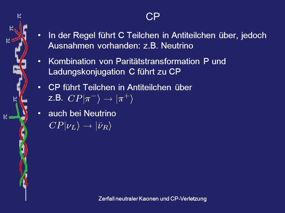 Zerfall neutraler Kaonen und CP-Verletzung Zeitumkehr (T) Umkehrung der Zeitrichtung eines Prozesses Zeitinvarianz - also Symmetrie unter T - heißt Zeitrichtung eines Prozesses nicht erkennbar z.B.