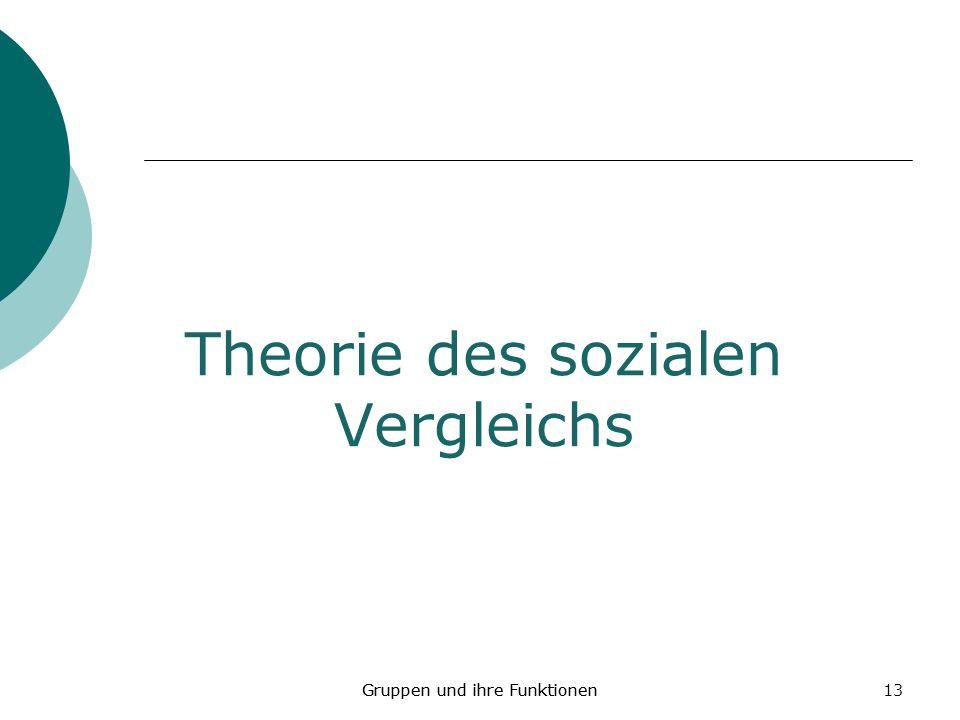 13 Theorie des sozialen Vergleichs Gruppen und ihre Funktionen