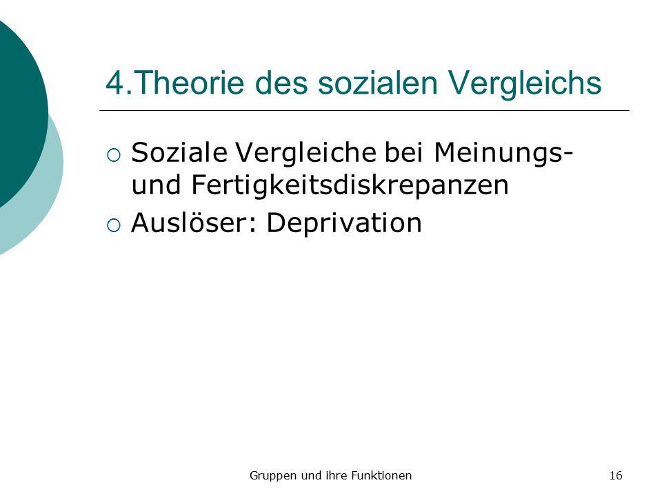 16 4.Theorie des sozialen Vergleichs Soziale Vergleiche bei Meinungs- und Fertigkeitsdiskrepanzen Auslöser: Deprivation Gruppen und ihre Funktionen