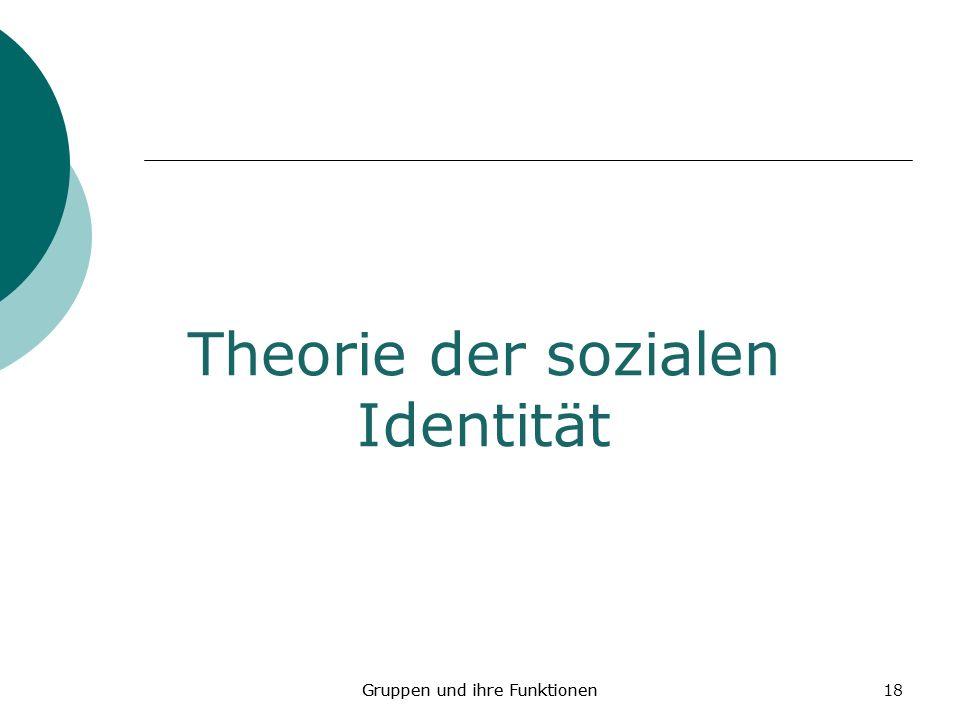 18 Theorie der sozialen Identität Gruppen und ihre Funktionen
