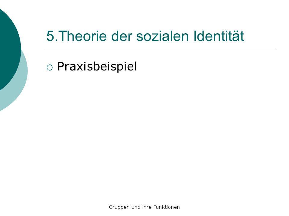 5.Theorie der sozialen Identität Praxisbeispiel Gruppen und ihre Funktionen