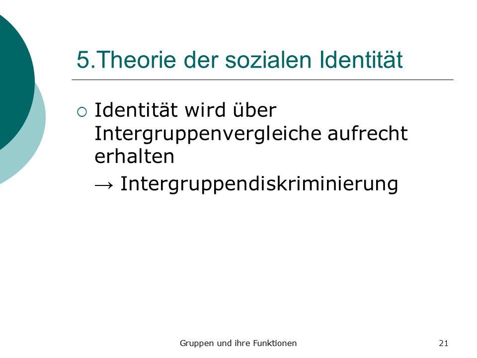 21 5.Theorie der sozialen Identität Identität wird über Intergruppenvergleiche aufrecht erhalten Intergruppendiskriminierung Gruppen und ihre Funktionen