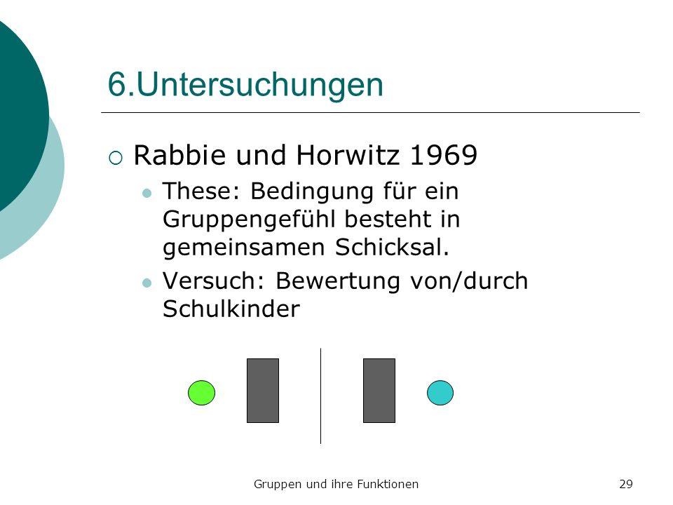 Gruppen und ihre Funktionen29 6.Untersuchungen Rabbie und Horwitz 1969 These: Bedingung für ein Gruppengefühl besteht in gemeinsamen Schicksal.