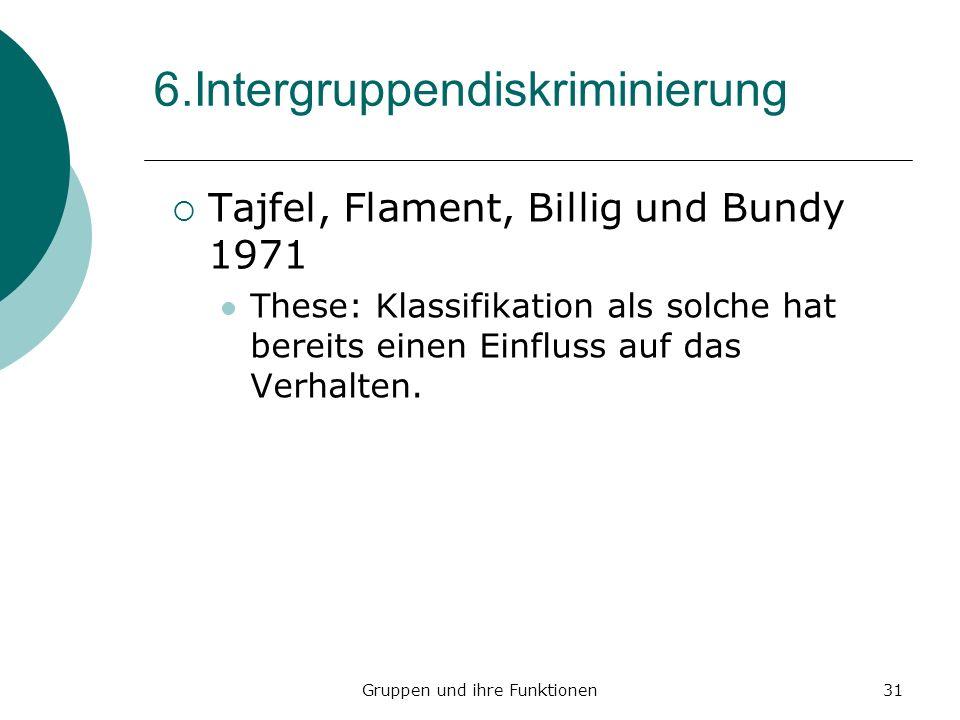 Gruppen und ihre Funktionen31 6.Intergruppendiskriminierung Tajfel, Flament, Billig und Bundy 1971 These: Klassifikation als solche hat bereits einen Einfluss auf das Verhalten.