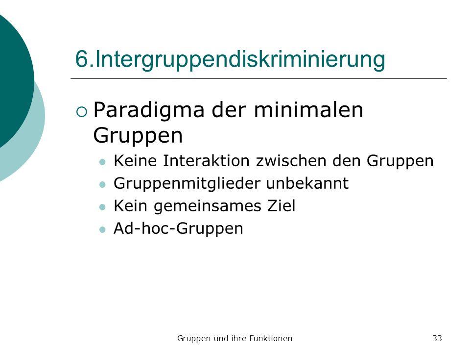 Gruppen und ihre Funktionen33 6.Intergruppendiskriminierung Paradigma der minimalen Gruppen Keine Interaktion zwischen den Gruppen Gruppenmitglieder unbekannt Kein gemeinsames Ziel Ad-hoc-Gruppen