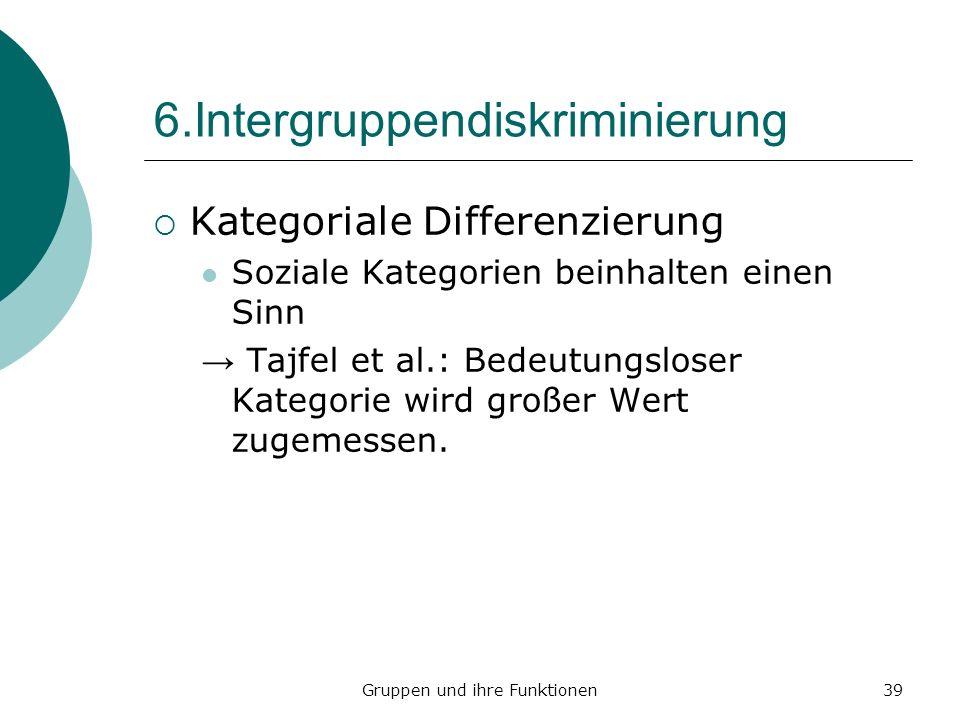 Gruppen und ihre Funktionen39 6.Intergruppendiskriminierung Kategoriale Differenzierung Soziale Kategorien beinhalten einen Sinn Tajfel et al.: Bedeutungsloser Kategorie wird großer Wert zugemessen.