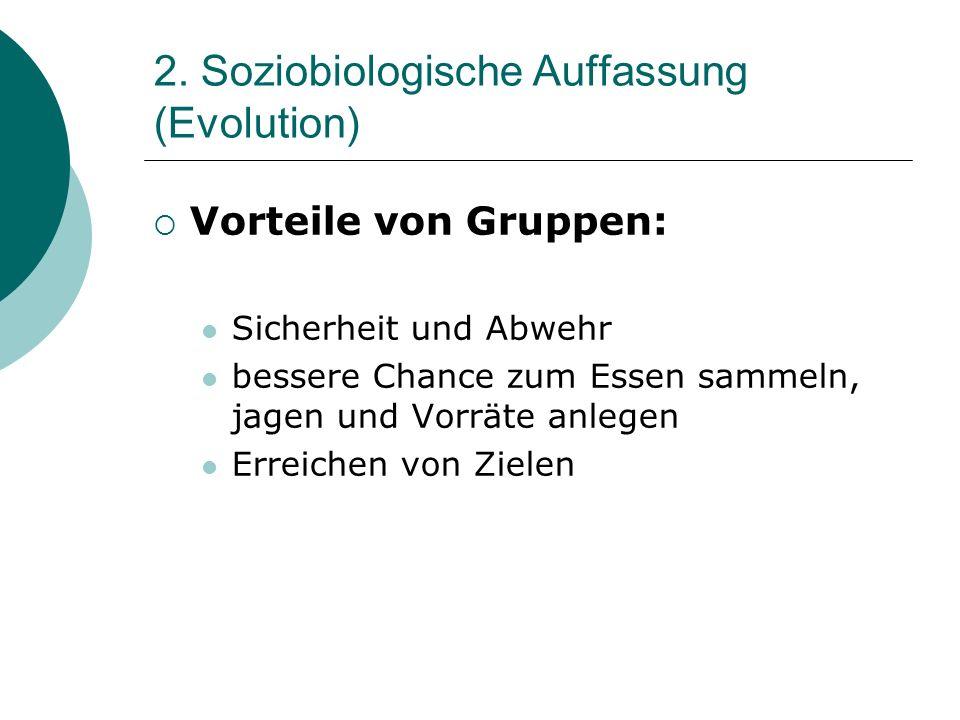 2. Soziobiologische Auffassung (Evolution) Vorteile von Gruppen: Sicherheit und Abwehr bessere Chance zum Essen sammeln, jagen und Vorräte anlegen Err