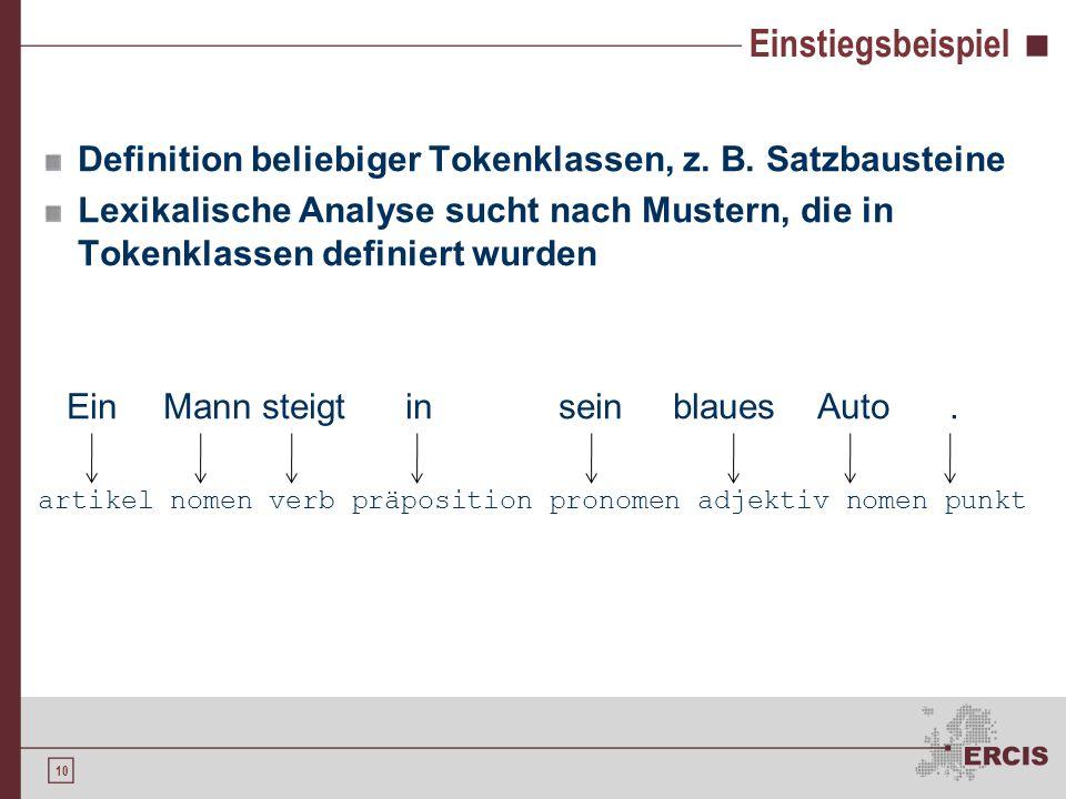 9 Lexikalische Analyse - Verfahren Motivation Lexikalische Analyse Einordnung Verfahren Generierung eines Scanners Anforderungen Manuelle Generierung
