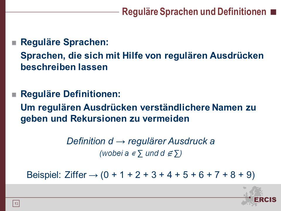 12 Reguläre Ausdrücke ( `+` + `-`) ? (0 + 1 + 2 + 3 + 4 + 5 + 6 + 7 + 8 + 9 ) + (, (0 + 1 + 2 + 3 + 4 + 5 + 6 + 7 + 8 + 9 ) + )? Basis für die Beschre