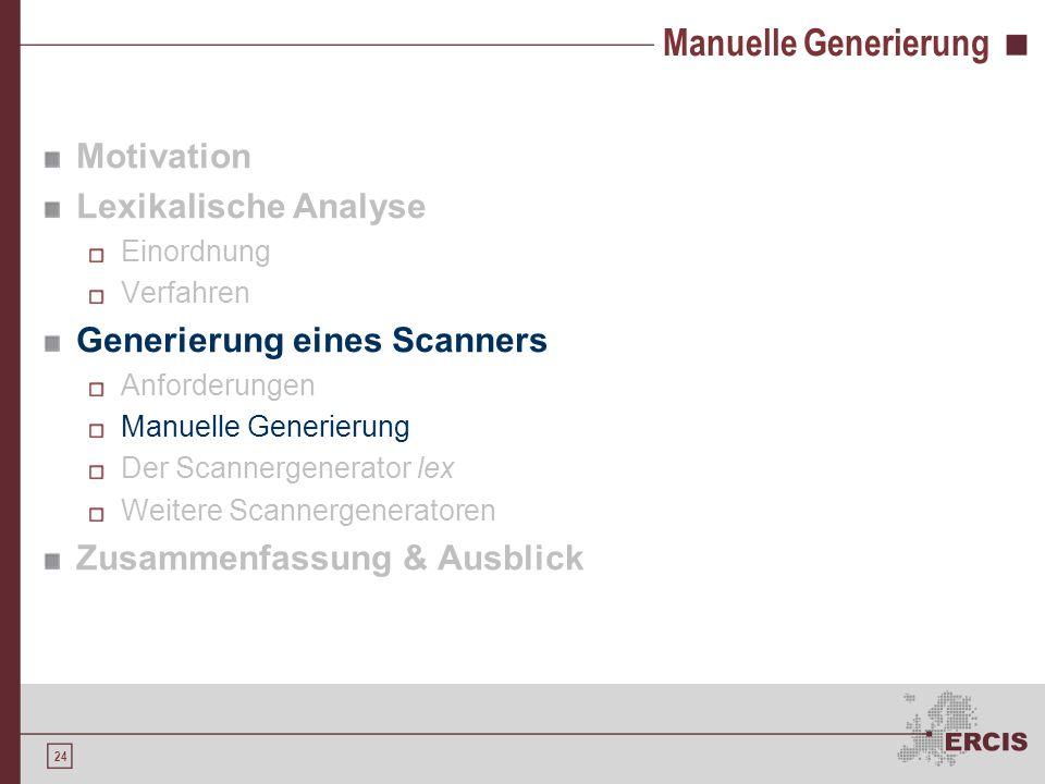 23 Anforderungen Effizienz Eine effiziente lexikalische Analyse dient der gesamten Kompilierung Je schneller der Scanner ein klares und eindeutiges Er