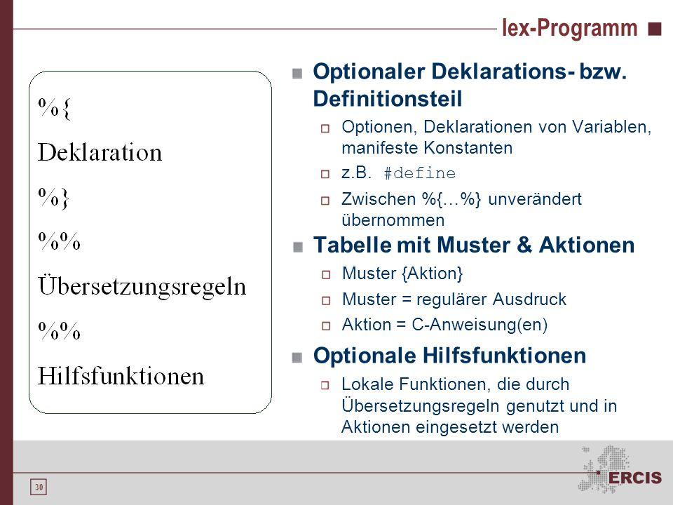 29 Der Scannergenerator lex Als Eingabe wird ein lex-Programm akzeptiert Reguläre Ausdrücke definieren den zu erstellenden Scanner / Lexer Programmtei