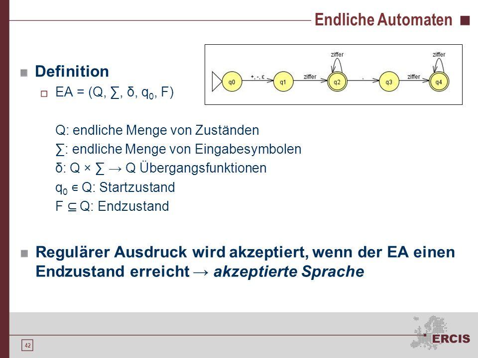 41 Reguläre Ausdrücke Per Induktion sind folgende Ausdrücke definiert Seien a und b reguläre Ausdrücke, die die Menge A und B beschreiben, dann a) ist