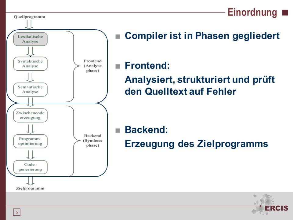 5 Compiler ist in Phasen gegliedert Einordnung Frontend: Analysiert, strukturiert und prüft den Quelltext auf Fehler Backend: Erzeugung des Zielprogramms