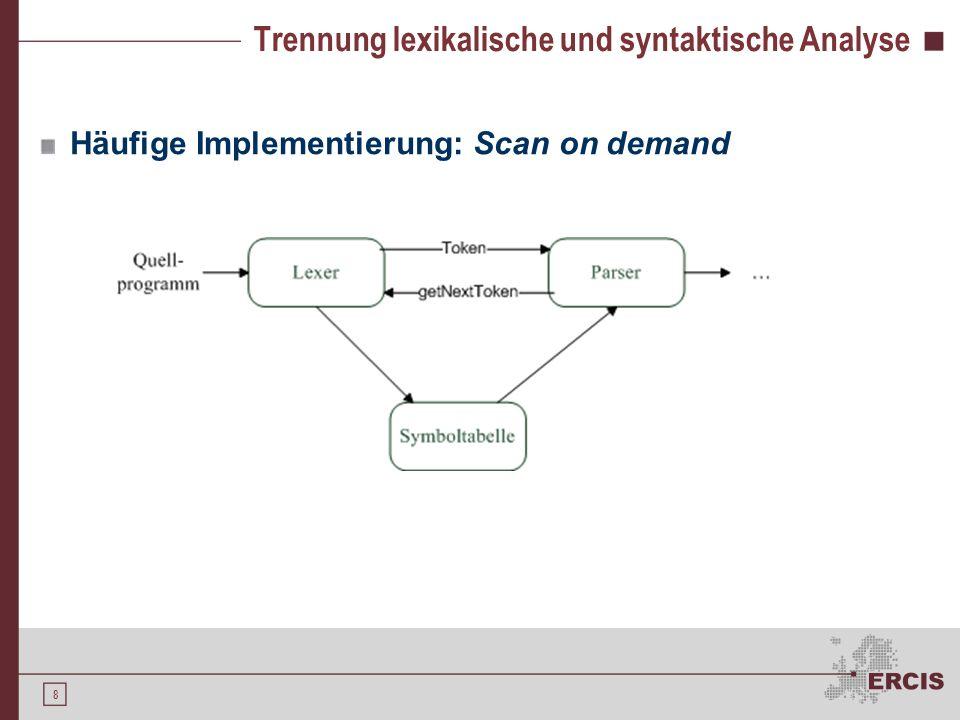 7 Trennung lexikalische und syntaktische Analyse Generell ist Zusammenarbeit der lexikalischen und syntaktischen Analyse möglich Vorteile der Trennung