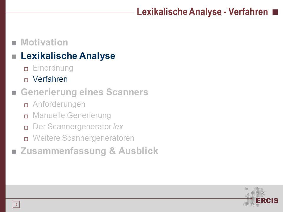 29 Der Scannergenerator lex Als Eingabe wird ein lex-Programm akzeptiert Reguläre Ausdrücke definieren den zu erstellenden Scanner / Lexer Programmteil in C / Ratfor, welcher Aktionen beschreibt
