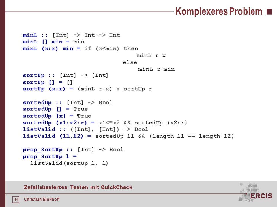13 Zufallsbasiertes Testen mit QuickCheck Christian Binkhoff Beispiel Haskell-Interpreter: Falsches Definition: