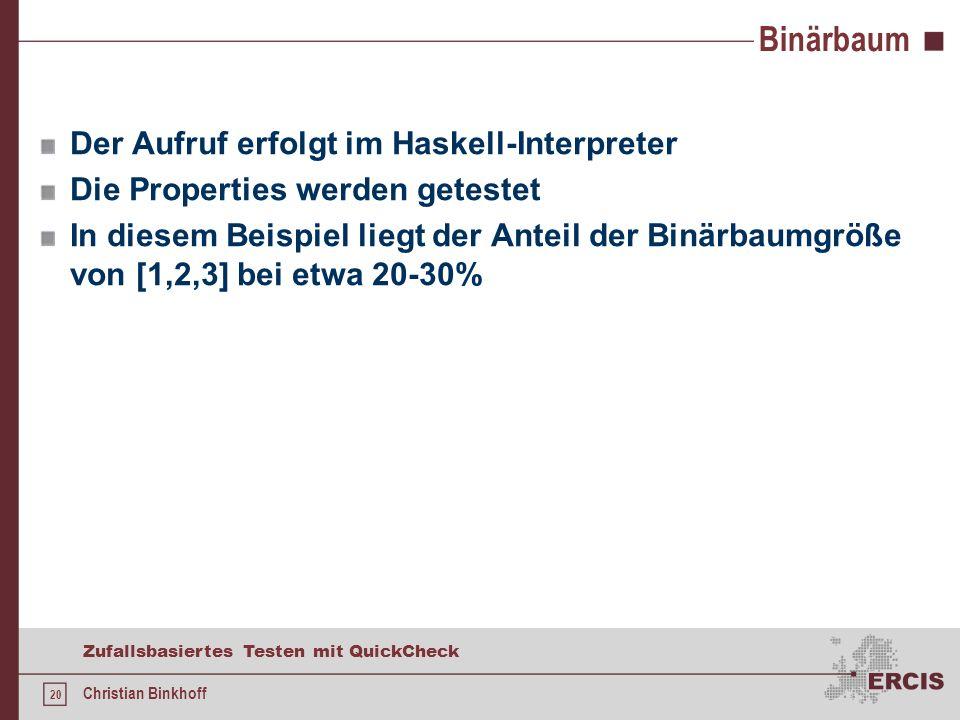 19 Zufallsbasiertes Testen mit QuickCheck Christian Binkhoff Binärbaum mit Funktionen suche loesche und einfuegen Demo