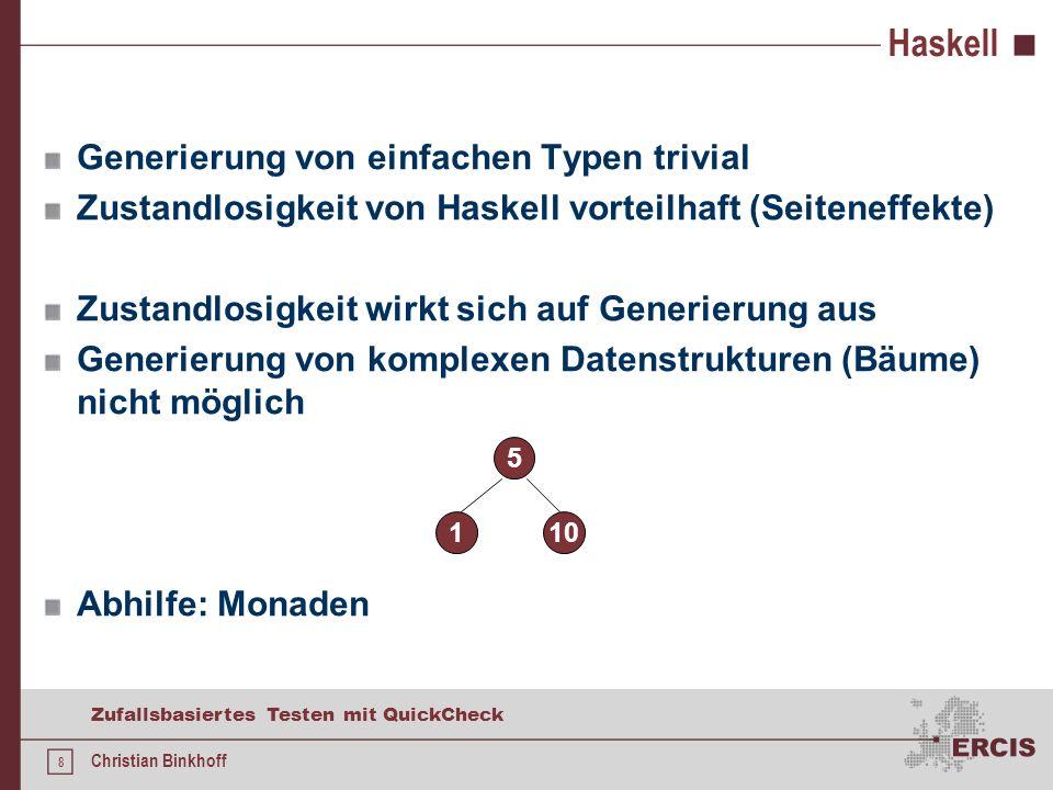 18 Zufallsbasiertes Testen mit QuickCheck Christian Binkhoff Selbstdefinierte Generatoren Eigener Typ instanziiert Klasse: Eigener Generator muss spezifiziert werden Standardtypen haben bereits Instanzen Basisgeneratoren können kombiniert werden Beispiel: weitere: oneof, frequency, size Abstraktes Gen ist Instanz der Haskell-Klasse Monad Berücksichtigung der Monadenfunktionalität