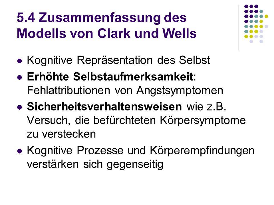 5.4 Zusammenfassung des Modells von Clark und Wells Kognitive Repräsentation des Selbst Erhöhte Selbstaufmerksamkeit: Fehlattributionen von Angstsympt