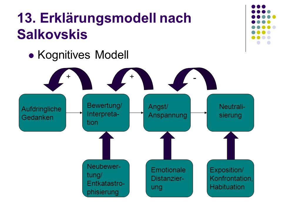 13. Erklärungsmodell nach Salkovskis Aufdringliche Gedanken Bewertung/ Interpreta- tion Angst/ Anspannung Neutrali- sierung - ++ Neubewer- tung/ Entka