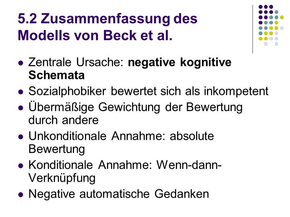 5.2 Zusammenfassung des Modells von Beck et al. Zentrale Ursache: negative kognitive Schemata Sozialphobiker bewertet sich als inkompetent Übermäßige