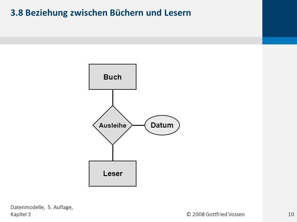 © 2008 Gottfried Vossen Leser Buch Ausleihe Datum 3.8 Beziehung zwischen Büchern und Lesern Datenmodelle, 5. Auflage, Kapitel 310