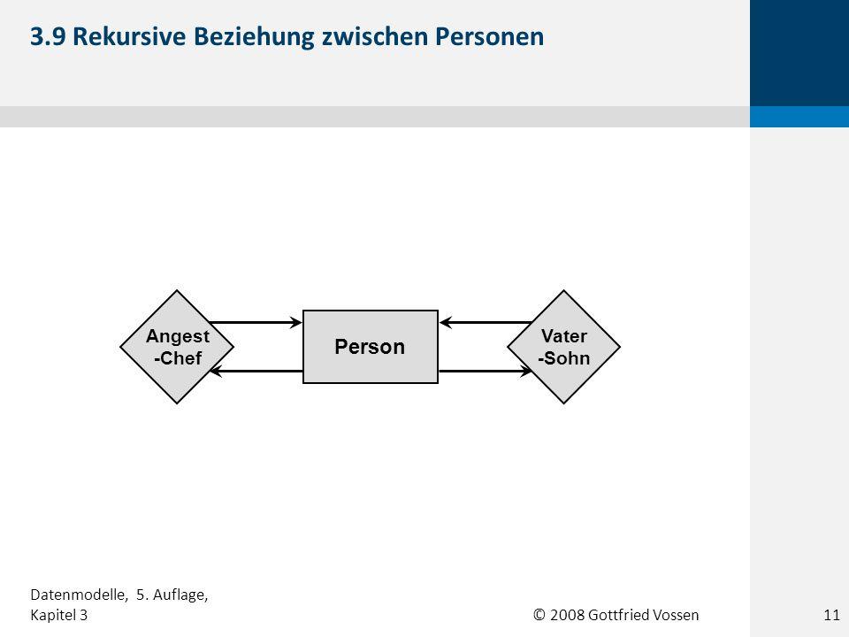 © 2008 Gottfried Vossen Person Angest -Chef Vater -Sohn 3.9 Rekursive Beziehung zwischen Personen Datenmodelle, 5. Auflage, Kapitel 311