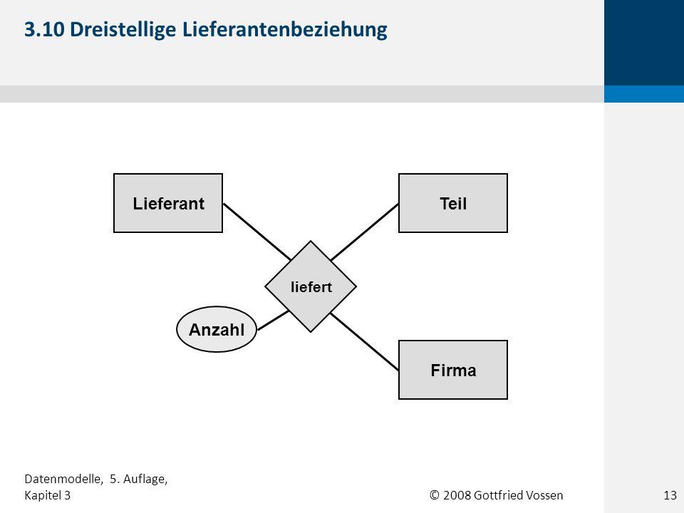 © 2008 Gottfried Vossen TeilLieferant Anzahl Firma liefert 3.10 Dreistellige Lieferantenbeziehung Datenmodelle, 5. Auflage, Kapitel 313