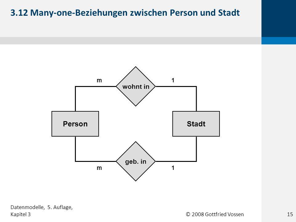 © 2008 Gottfried Vossen StadtPerson 1m geb. in wohnt in 1m 3.12 Many-one-Beziehungen zwischen Person und Stadt Datenmodelle, 5. Auflage, Kapitel 315
