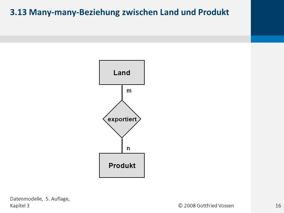 © 2008 Gottfried Vossen Produkt Land exportiert m n 3.13 Many-many-Beziehung zwischen Land und Produkt Datenmodelle, 5. Auflage, Kapitel 316
